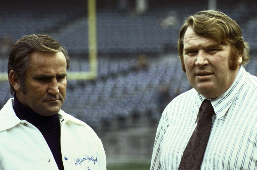 Oakland Raiders Coach John Madden and Miami Dolphins Coach Don Shula, 1974 AFC Playoffs